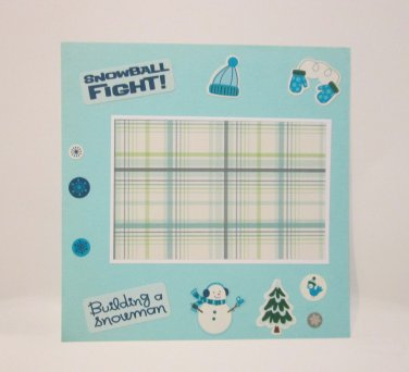 """Building A Snowman""-Premade Scrapbook Page -8x8 Layout"