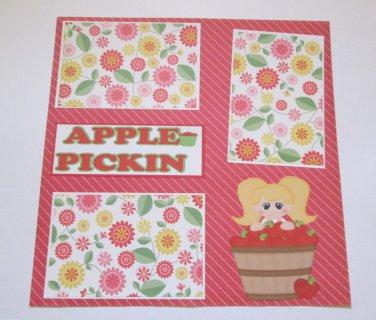 """Apple Pickin Girl""-Premade Scrapbook Page 12x12"
