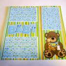 """Baby Boy Bear 1""-Premade Scrapbook Page 12x12"