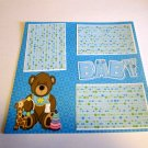 """Baby Boy Bear 2""-Premade Scrapbook Page 12x12"