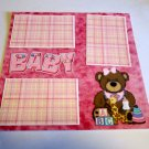 """Baby Girl Bear 1""-Premade Scrapbook Page 12x12"