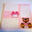 """Beary Cute Sweet Girl""-Premade Scrapbook Page 12x12"