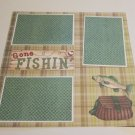 """Gone Fishing Tackle""-Premade Scrapbook Page 12x12"