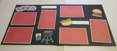 """BBQ a dbl""-Premade Scrapbook Pages 12x12-Double Page Layout"