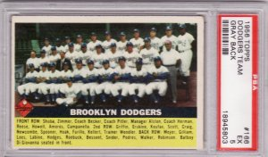 Dodgers Team Card 1956 Topps #166 PSA 5 EX