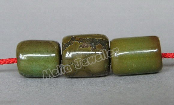 Natural Turquoise Dia.9.5-11 mm Barrel Loose 3 Beads