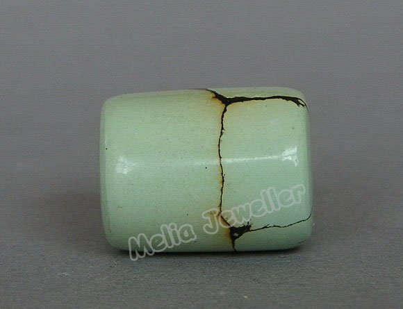 Natural Turquoise Dia.14 mm Barrel Loose Bead