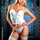 Stretch white lace up front corset.80153