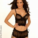 Embroidered soft net cami with shorts.80021