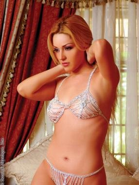 Rhinestone triangle bra with matching g-string.80196