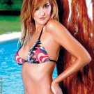 Halter triangle printed mesh and bikini with strings.80146