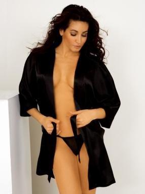 Tie wrap satin robe.80022