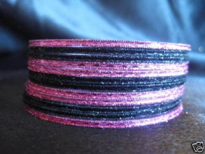 Black Metallic Pink Indian Bangles Ethnic Bracelets 2.8