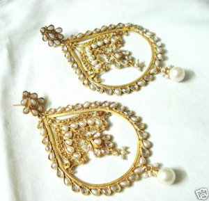 India Pearl Polki Kundan BIG Earring Bollywood Indian
