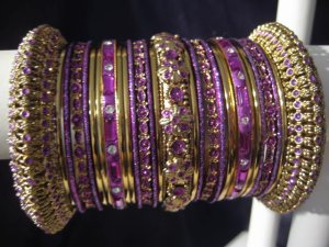 Indian Ethnic Bridal Bangles Gold Tone Purple Kada Size 2.4(XS) 2.6(S) 2.8(M)
