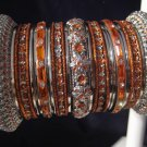 Indian Ethnic Bridal Bangles Silver Tone Orange Kada Size 2.4(XS) 2.6(S) 2.8(M)
