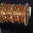 Indian Ethnic Bridal Bangles Gold Tone Orange Kada Size 2.4(XS) 2.6(S) 2.8(M)