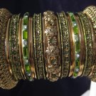 Indian Ethnic Bridal Bangles Gold Tone Mehandi Green Size 2.4(XS) 2.6(S) 2.8(M)