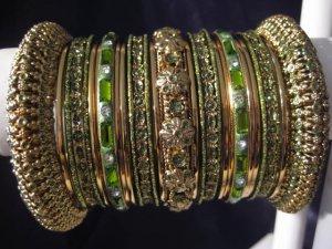 Indian Ethnic Bridal Bangles Gold Tone Mehandi Green Size 2.4(XS) 2.6(S) 2.8(M)
