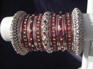 Indian Ethnic Bridal Bangles Silver Tone Maroon Kada Size 2.4(XS) 2.6(S) 2.8(M)
