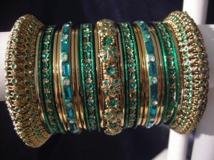 Indian Ethnic Bridal Bangles Gold Tone Green Kada Size 2.4(XS) 2.6(S) 2.8(M)
