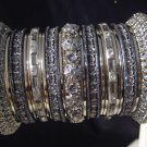Indian Ethnic Bridal Bangles Set SilverTone Gray Kada Size 2.4(XS) 2.6(S) 2.8(M)