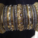 Indian Ethnic Bridal Bangles Set Gold Tone Gray Kada Size 2.4(XS) 2.6(S) 2.8(M)