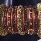 Indian Ethnic Bridal Bangles Set GoldTone Maroon Kada Size 2.4(XS) 2.6(S)