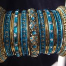 Indian Ethnic Bridal Bangles Gold Tone Turquoise Kada Size 2.4(XS) 2.6(S) 2.8(M)