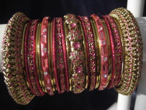 Indian Ethnic Bridal Bangles Set Gold Tone Rose Kada Size 2.4(XS) 2.6(S) 2.8(M)