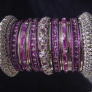 Indian Ethnic Bridal Bangles Silver Tone Purple Kada Size 2.4(XS) 2.6(S) 2.8(M)