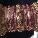 Indian Ethnic Bridal Bangles Set Gold Tone Pink Kada Size 2.4(XS) 2.6(S) 2.8(M)
