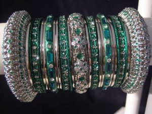 Indian Ethnic Bridal Bangles Silver Tone Green Kada Size 2.4(XS) 2.6(S) 2.8(M)