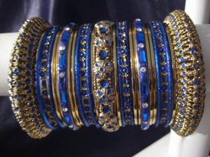 Indian Ethnic Bridal Bangles Set Gold Tone Blue Kada Size 2.4(XS) 2.6(S)