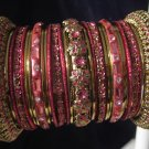 Indian Ethnic Bridal Bangle Bracelet in English Rose Color with Gold Tone 2.4