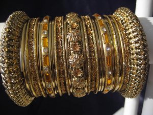 Indian Ethnic Bridal Bangle Bracelet in Gold Color with Gold Tone 2.4/2.6/2.8