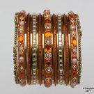 Girls Bangles Bracelets Orange Gold Set Size 2.0 Indian