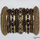 Indian Ethnic Bridal Bangles Set Gold Tone Black Kada Size 2.4(XS)
