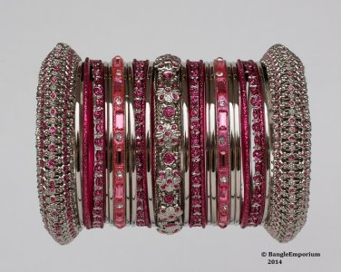 Indian Ethnic Bridal Bangles Set SilverTone Rose Kada Size 2.4(XS) 2.6(S) 2.8(M)