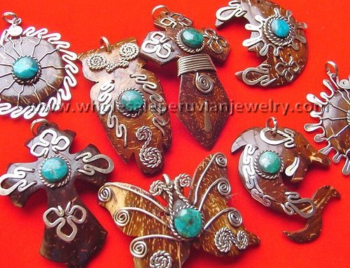 7 unique coconut pendants handmade peruvian jewelry for Unique handmade jewelry wholesale