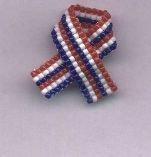 Beaded Awareness Ribbon - Patriotic & More