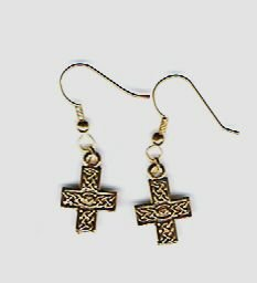 Gold Pewter Celtic Cross Earrings