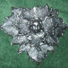 Green Man Barrette - Antique Silver