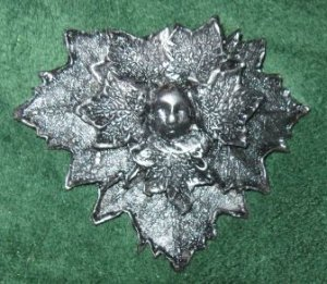 Green Man Barrette - Antique Silver
