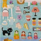 SAN-X Sweet Street Stickers 3 Black Cat Matryoshkas