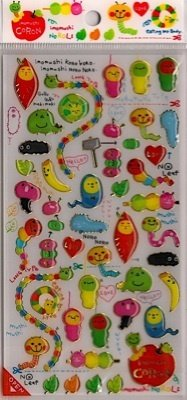CRUX Imomushi Coron Cute Caterpillar Sticker Set Kawaii
