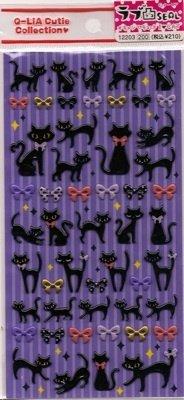Q-LIA Black Cats With Bows Sticker Set