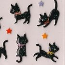 ARK ROAD Black Cat with Stars Puffy Sticker Set