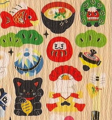 KAMIO Washi Paper Good Fortune Daruma and Maneki Neko Sticker Set