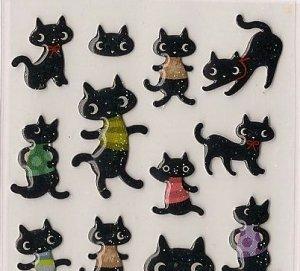 ARK ROAD Black Cat in Shirts Sticker Set